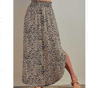 Animal Print Elastic Maxi skirt With Pockets